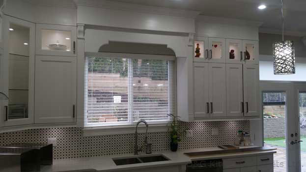 Aluminum waterproof outdoor windows in kitchen cabinet